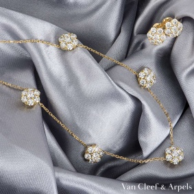 Van Cleef & Arpels Yellow Gold Diamond Fleurette Suite